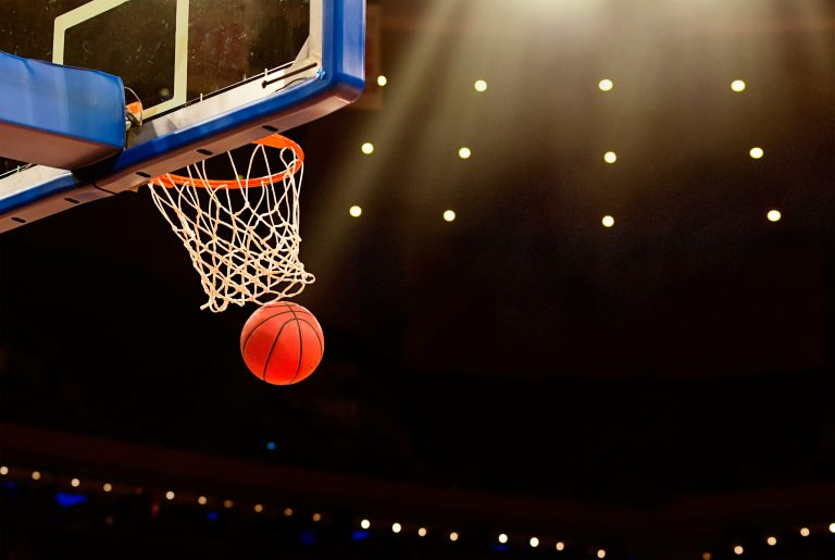 Basketball,Basket,With,All,Going,Through,Net